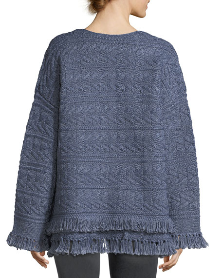 The Cable-Knit Chevron Cotton Sweater w/ Fringe