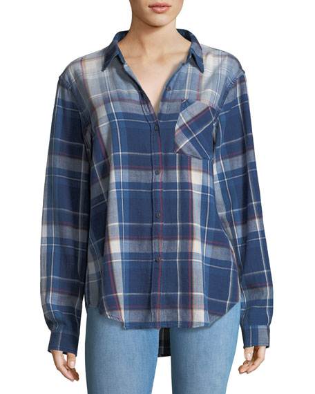 The Boyfriend Indigo-Plaid Oversized Cotton Shirt