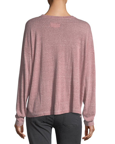 The Easy Henley Long-Sleeve Heathered Tee
