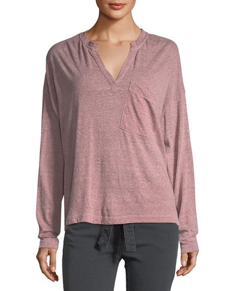 Current/Elliott The Easy Henley Long-Sleeve Heathered Tee
