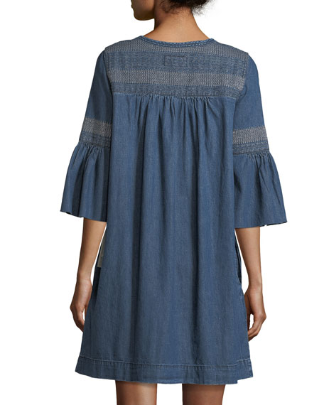 The Abigail Embroidered Denim Dress