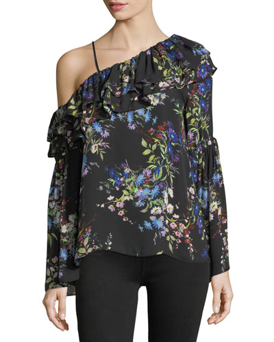 Lima Asymmetric-Neck Floral-Print Blouse