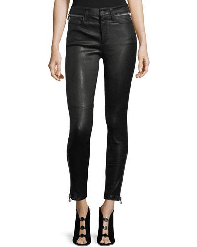Charlie Lamb-Leather Skinny-Leg Pants