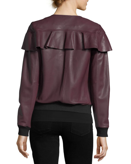 Hera Zip-front Long-Sleeve Leather Jacket