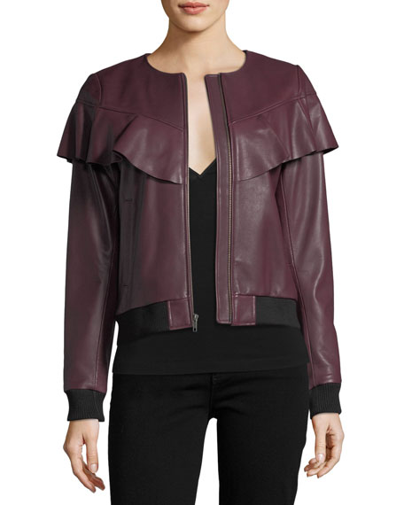 Parker Hera Zip-front Long-Sleeve Leather Jacket