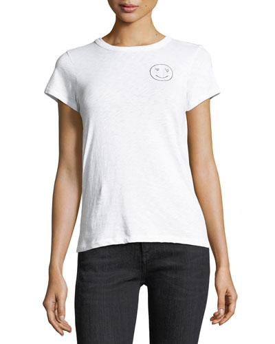 Love Face Embroidered Cotton Tee