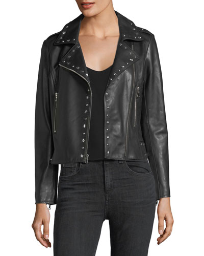 Easton Long-Sleeve Zip-Front Leather Moto Jacket