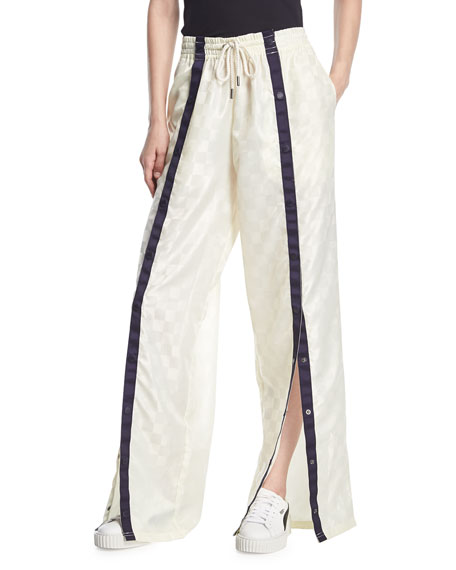 Front Tearaway Wide-Leg Track Pants