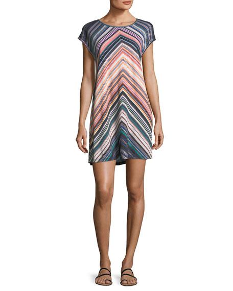Chevron-Striped Scoop-Neck Coverup Dress