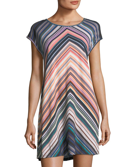 JETS by Jessika Allen Chevron-Striped Scoop-Neck Coverup Dress