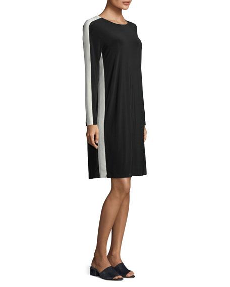 Side-Stripe Long-Sleeve Knee-Length Dress
