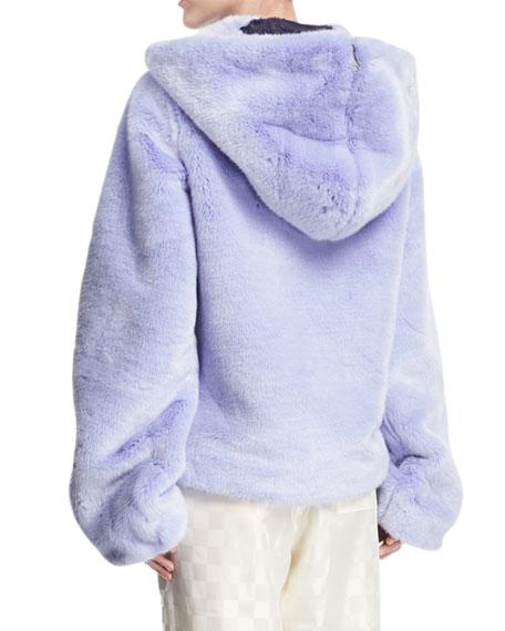 Faux-Fur Zip-Front Hooded Oversized Jacket