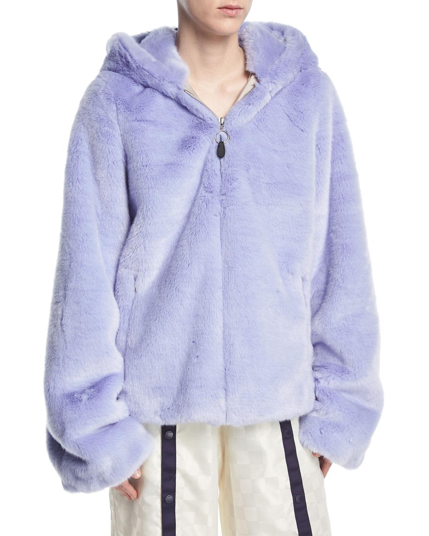 79514cdb1742 Fenty Puma by Rihanna Faux-Fur Zip-Front Hooded Oversized Jacket ...