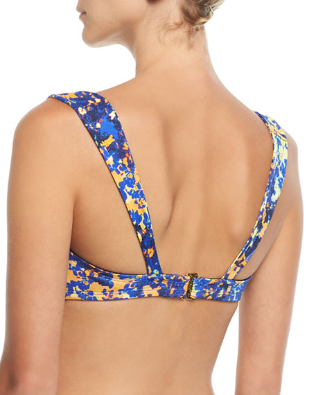 Printed Notched-Front Swim Top