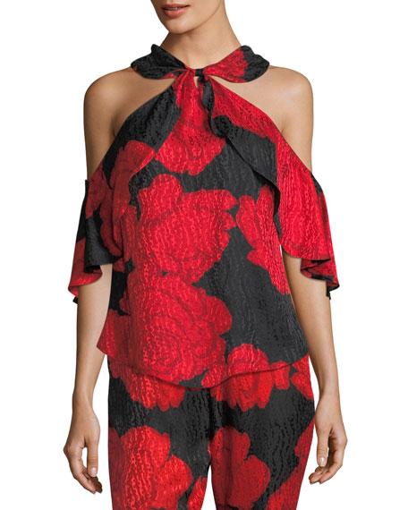 Rose-Print Silk Jacquard Cold-Shoulder Top