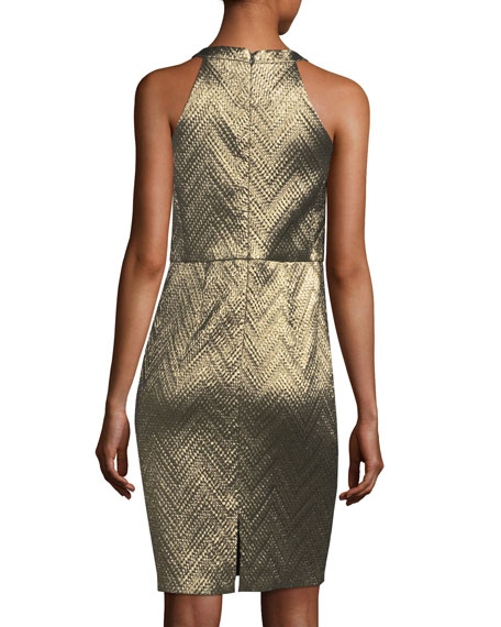 Metallic Zigzag Jacquard Cocktail Dress