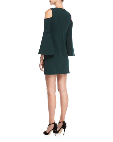 Double Luxe Cold-Shoulder Funnel-Sleeve Dress