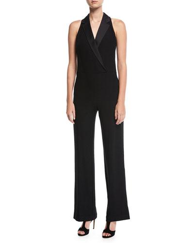 Sparkle Crepe Sleeveless Tuxedo Jumpsuit