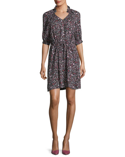 Split-Neck Half-Sleeve Floral-Print Mini Dress