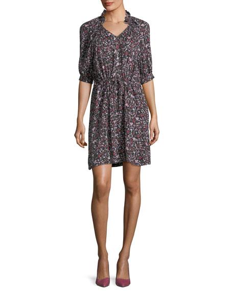 Split-Neck Half-Sleeve Floral-Print Mini Dress