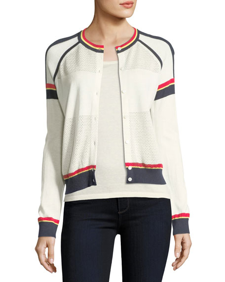 Cashmere Athletic Striped Cardigan