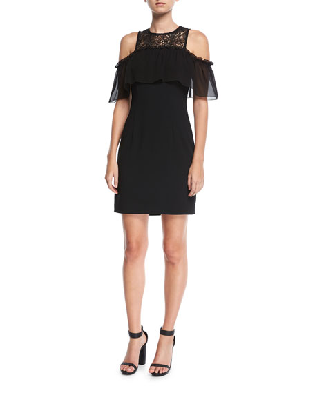 Trina Turk Crepe Cold-Shoulder Mixed-Media Lace Illusion Dress