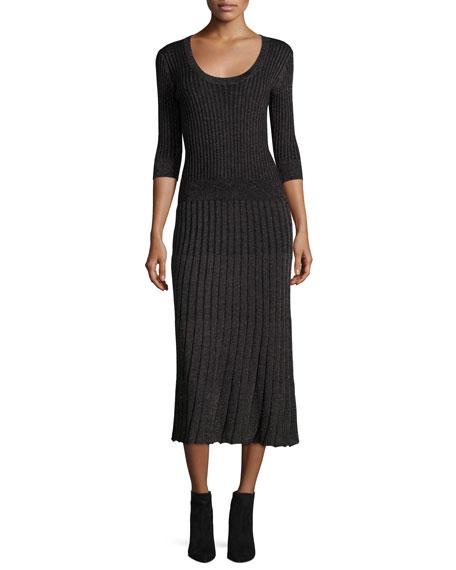 Lurex® Metallic Ribbed Midi Skirt