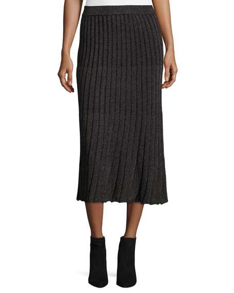 Lurex® Metallic Ribbed Midi Skirt