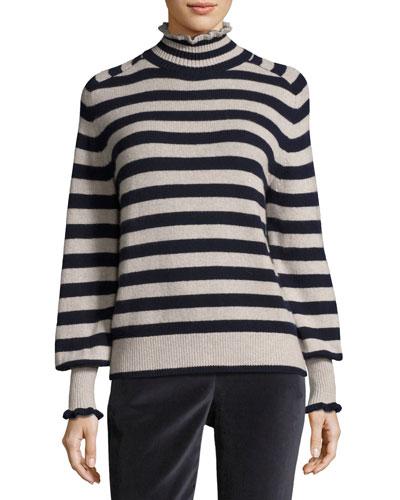 Striped Turtleneck Wool-Blend Pullover Sweater