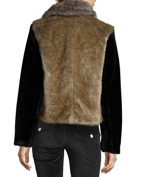 Patched Faux-Fur Jacket