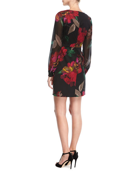 Floral-Print Faille V-Neck Dress
