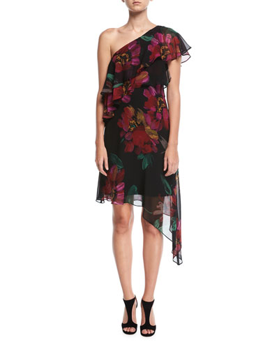 One-Shoulder Asymmetric Chiffon Floral Dress