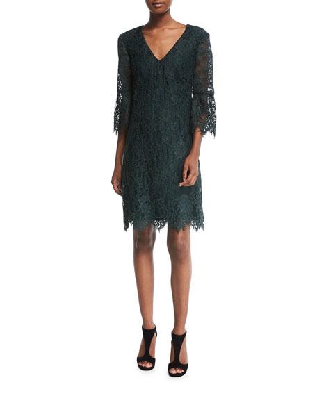 Trina Turk 3/4-Sleeve V-Neck Lace Cocktail Dress