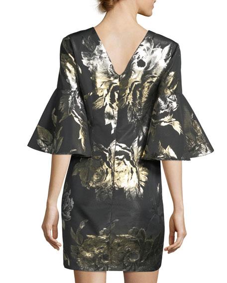 Bell-Sleeve Metallic Rose Jacquard Cocktail Dress