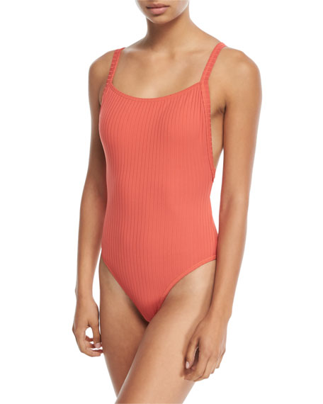 Seafolly Inka Ribbed Tank Maillot One-Piece Swimsuit and