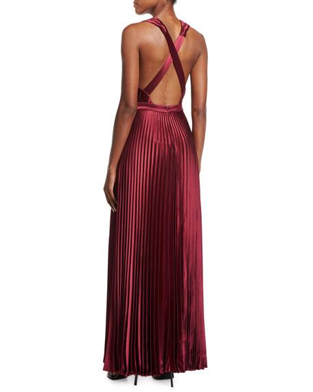 Arlyn Sleeveless V-Neck Satin Evening Gown