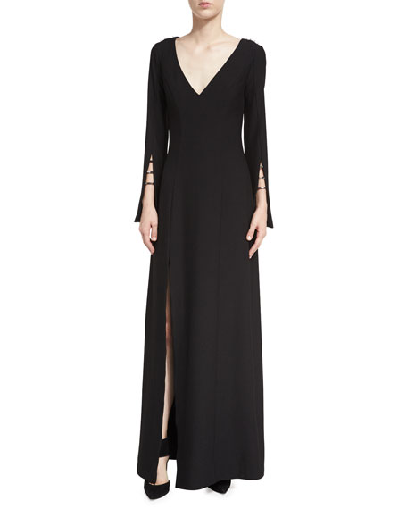 Paula V-Neck High-Slit Evening Gown