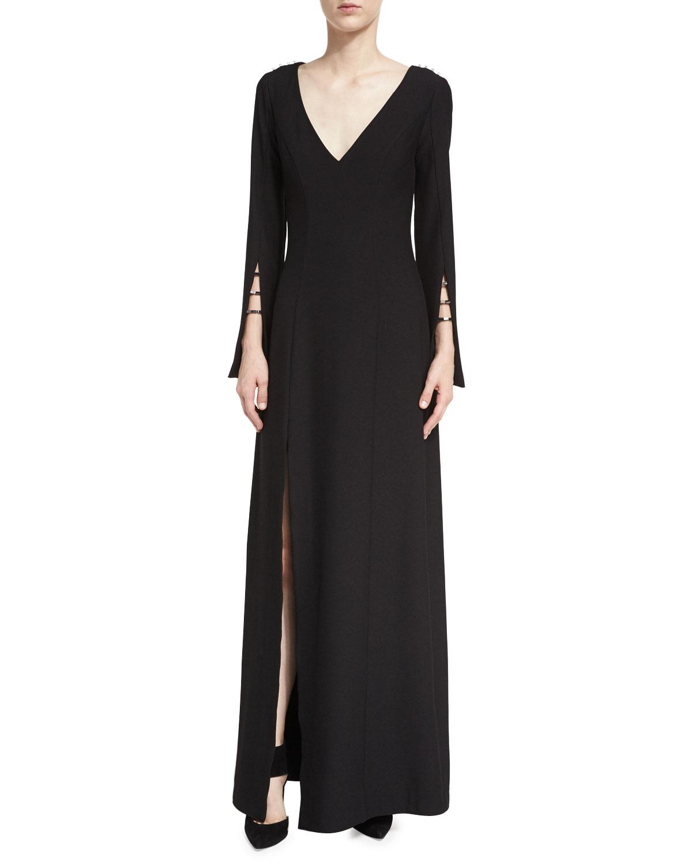 Zac Zac Posen Paula V Neck High Slit Evening Gown Neiman Marcus