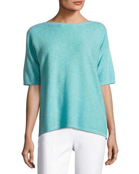 Eileen Fisher Short-Sleeve Organic Linen/Cotton Box Top