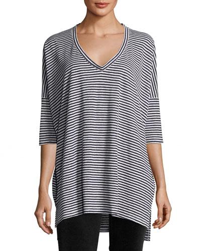 Striped Organic Linen Jersey V-Neck Tunic, Plus Size