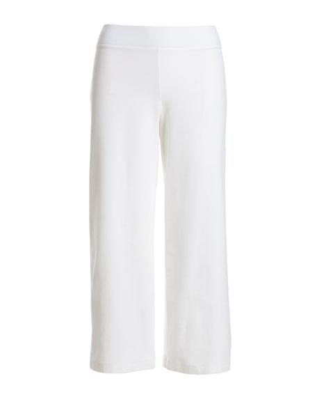 Wide-Leg Washable-Crepe Cropped Pants