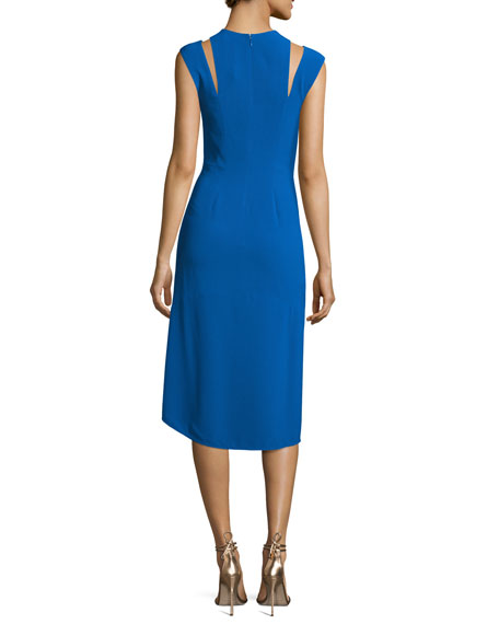 Sleeveless Stretch Crepe Cocktail Dress, Lapis