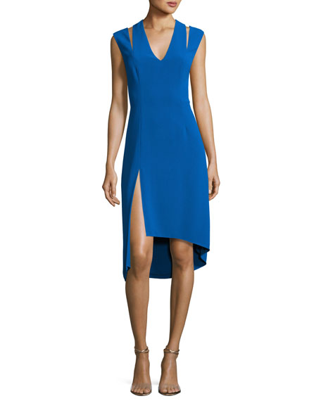 Halston Heritage Sleeveless Stretch Crepe Cocktail Dress, Lapis