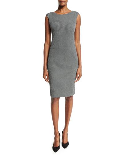 Gingham Sleeveless Sheath Dress, Black/White