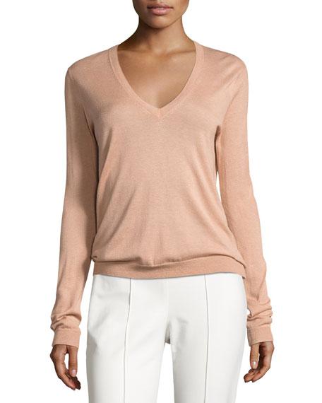 Theory Yulia Silk-Blend V-Neck Sweater