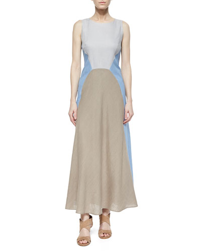 Solange Colorblock Linen Maxi Dress, Ice Water/Melange