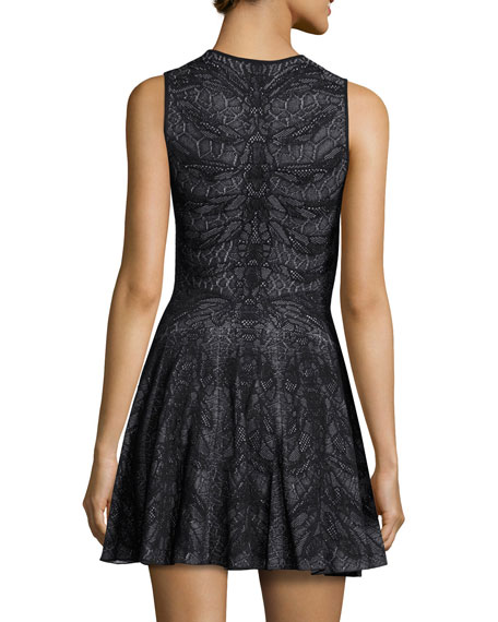 Sleeveless Spine Lace Dress, Black/White