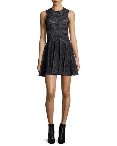 Sleeveless Spine Lace Dress, Black/White
