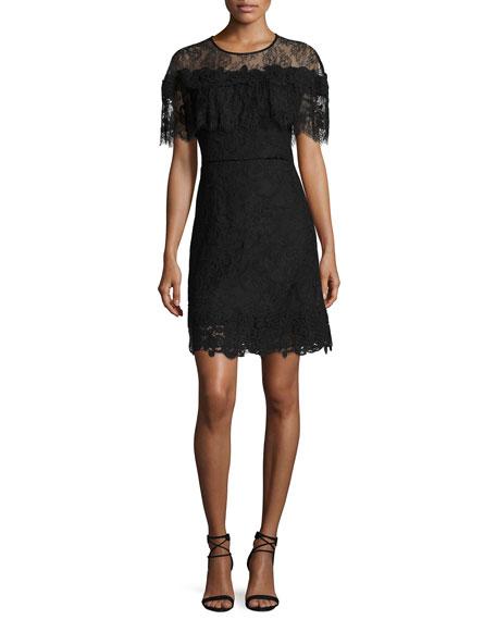Vivi Short-Sleeve Popover Lace Cocktail Dress