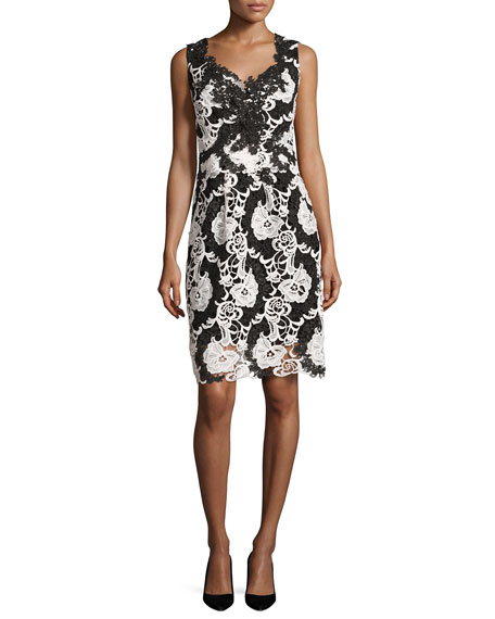 Kobi Halperin Sleeveless Two-Tone Floral Lace Cocktail Dress